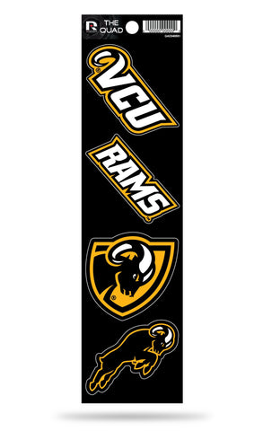 VCU Rams Set of 4 Decals Stickers The Quad by Rico 2x2 Inches Viriginia Commonwealth