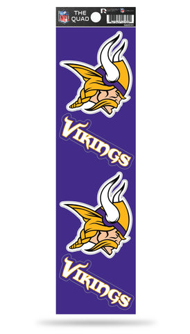 Minnesota Vikings Set of 4 Decals Stickers The Quad by Rico 2x2 Inches
