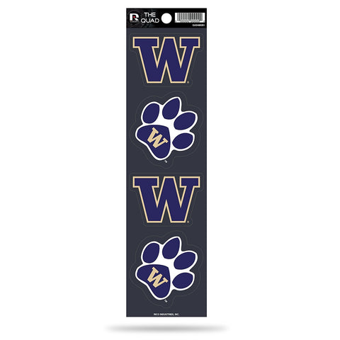 Washington Huskies Set of 4 Decals Stickers The Quad by Rico 2x2 Inches