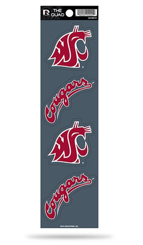 Washington State Cougars Set of 4 Decals Stickers The Quad by Rico 2x2 Inches Cougs