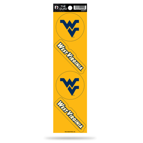 West Virginia Mountaineers Set of 4 Decals Stickers The Quad by Rico 2x2 Inches Yeti