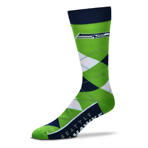 Seattle Seahawks Argyle Socks Crew Length One Size Fits Most NEW!