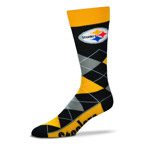 Pittsburgh Steelers Argyle Socks Crew Length One Size Fits Most NEW!