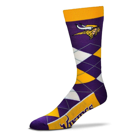 Minnesota Vikings Argyle Socks Crew Length One Size Fits Most NEW!