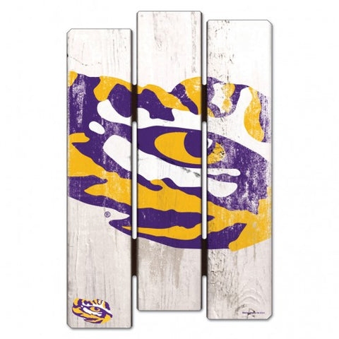"LSU Tigers Wood Fence Sign NEW! 11""X17"" Man Cave"