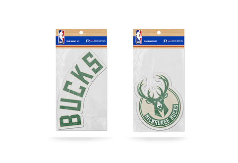 Milwaukee Bucks Magnet Set 2 piece Logo Wordmark NEW NCAA Free Shipping!