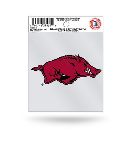 Arkansas Razorbacks Logo Static Cling Sticker NEW!! Window or Car! NCAA