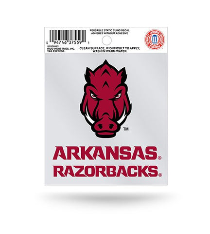 Arkansas Razorbacks Head Logo Static Cling Sticker NEW!! Window or Car! NCAA