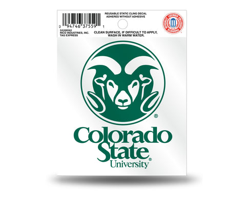 Colorado State Rams with Workmark Static Cling Sticker NEW!! Window or Car! NCAA