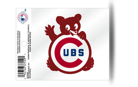 Chicago Cubs Retro Cub Logo Static Cling Decal for Window Free Shipping NEW! MLB