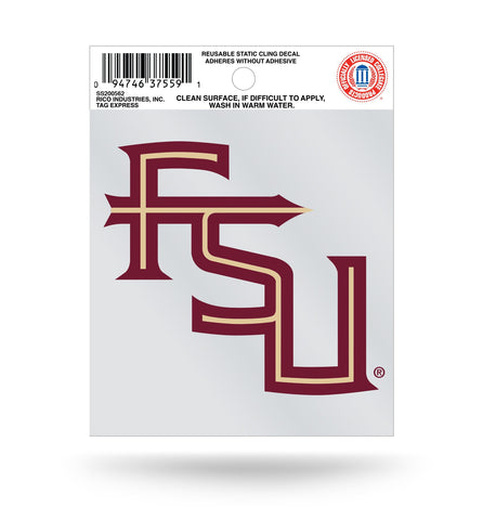 "Florida State Seminoles ""FSU"""" Logo Static Cling Sticker NEW!! Window or Car! NCAA"