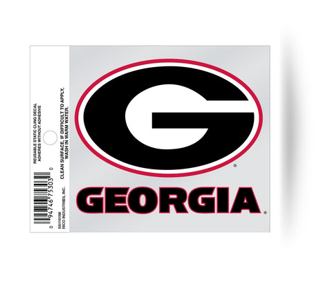 Georgia Bulldogs Logo Static Cling Sticker NEW!! Window or Car! NCAA UGA