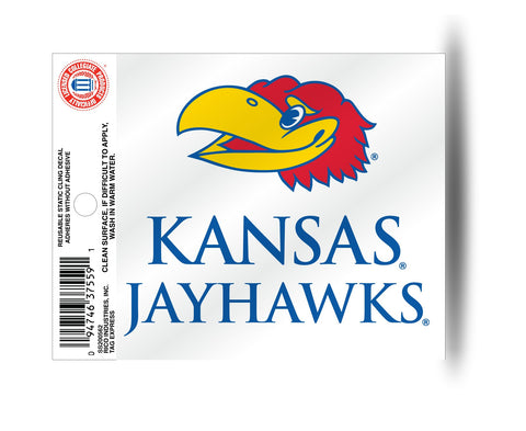 Kansas Jayhawks Wordmark Static Cling Decal Free Shipping!