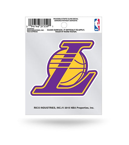 "Los Angeles Lakers ""L"" Logo Static Cling Sticker NEW!! Window or Car! NBA"