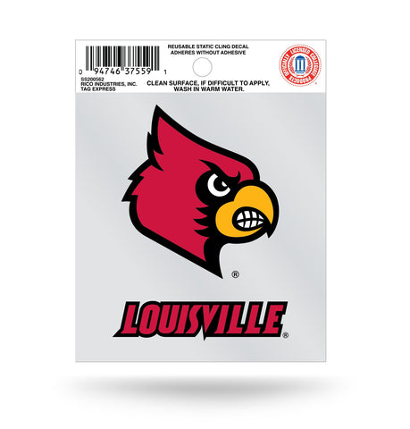 Louisville Cardinals Wordmark Logo Static Cling Sticker NEW!! Window or Car! NCAA