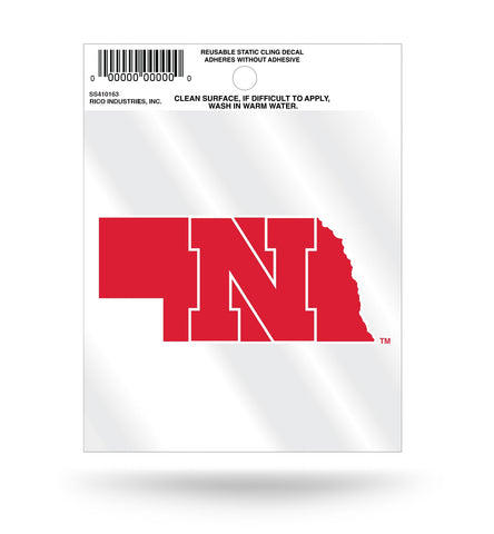 Nebraska Huskers State Outline Static Cling Decal Free Shipping!