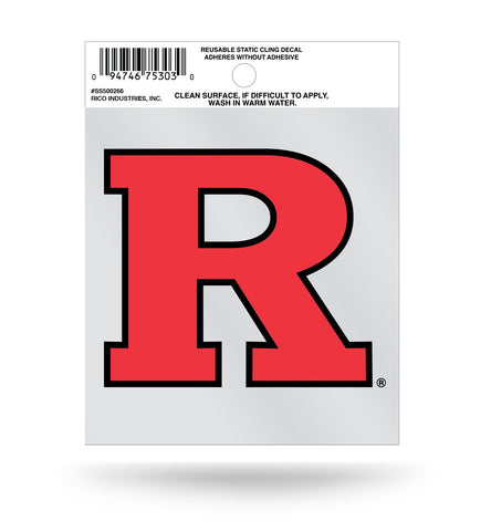 "Rutgers Scarlet Knights ""R"" Logo Static Cling Sticker NEW!! Window or Car! NCAA"