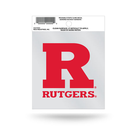 "Rutgers Scarlet Knights ""R"" with Wordmark Logo Static Cling Sticker NEW!! Window or Car! NCAA"