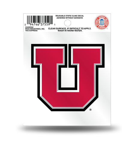University of Utah Utes Logo Static Cling Sticker NEW!! Window or Car!