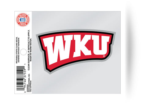 Western Kentucky Hilltoppers Logo Static Cling Sticker Decal NEW!! Window or Car!