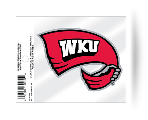 Western Kentucky Hilltoppers Flag Logo Static Cling Sticker Decal NEW!! Window or Car!