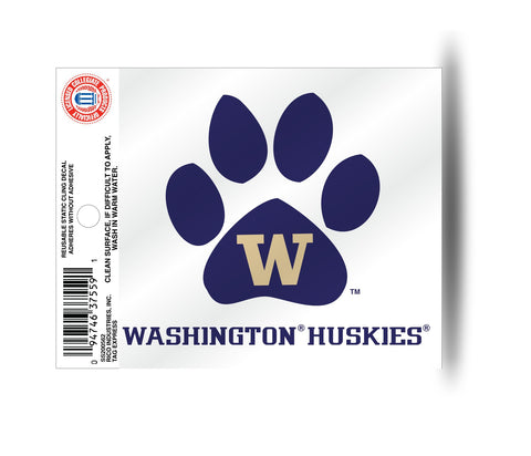 Washington Huskies  Paw Logo Static Cling Sticker NEW!! Window or Car! NCAA
