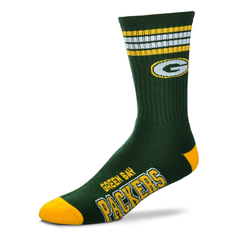 Green Bay Packers Socks Crew Length Stripes Size Large Fits Most NEW!