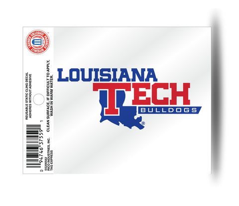 Louisiana Tech Bulldogs Logo Wordmark Static Cling Sticker NEW!! Window or Car! NCAA