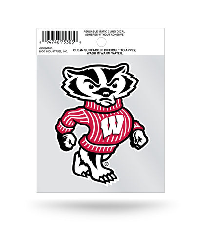 Wisconsin Badgers Static Bucky Badger Cling Sticker NEW!! Window or Car! NCAA