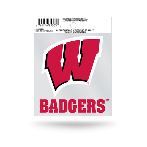 Wisconsin Badgers Static Cling Sticker NEW!! Window or Car! NCAA