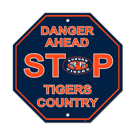 "Auburn Tigers Stop Sign ""Tigers Country"" NEW! 12""X12"" Man Cave ""Danger Ahead"""