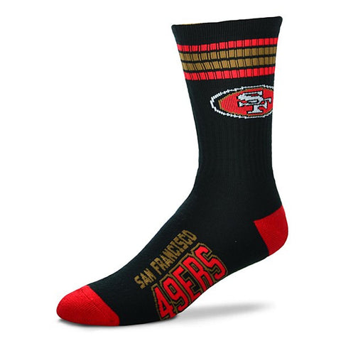 San Francisco 49ers Socks Crew Length Stripes Size Large Fits Most NEW!