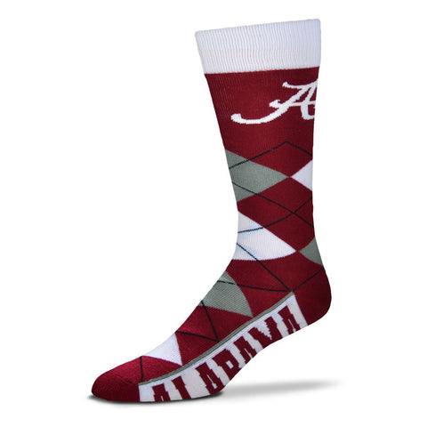 Alabama Crimson Tide Argyle Socks Crew Length One Size Fits Most NEW!