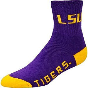LSU Tigers Socks Quarter Length Large Size Mens 10-13 Shoe NEW!