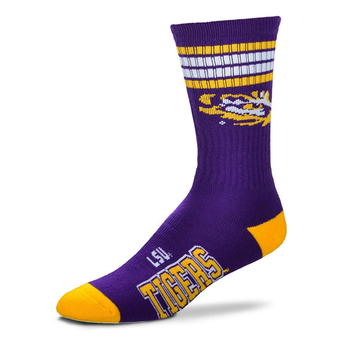 LSU Tigers Socks Crew Length Stripes Size Large NEW!