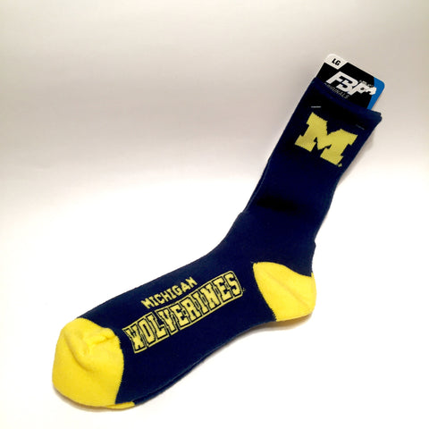 Michigan Wolverines Socks Crew Length Size Large NEW!