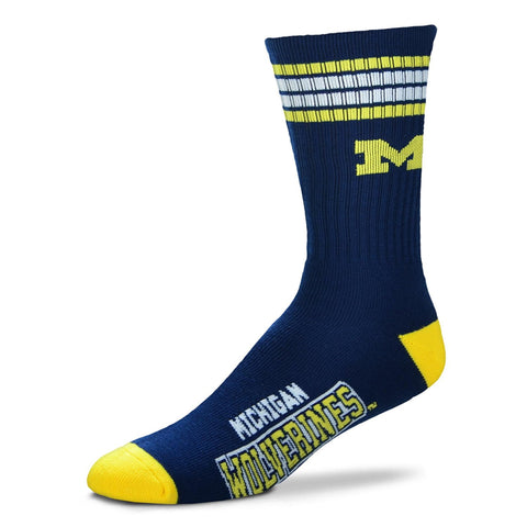Michigan Wolverines Socks Crew Length Stripes Size Large NEW!