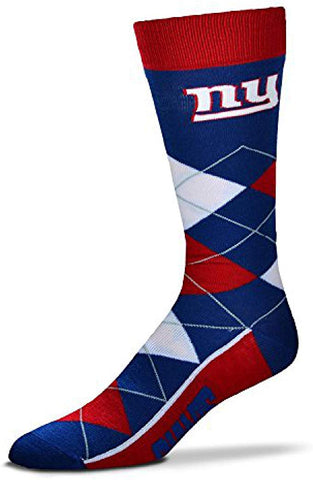 New York Giants Argyle Socks Crew Length One Size Fits Most NEW!