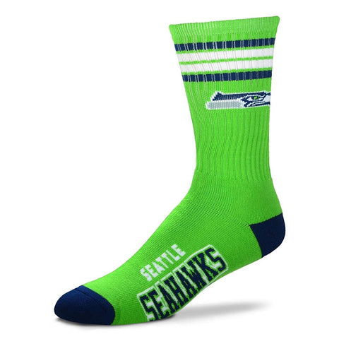 Seattle Seahawks Socks Crew Length Stripes Size Large Fits Most NEW!