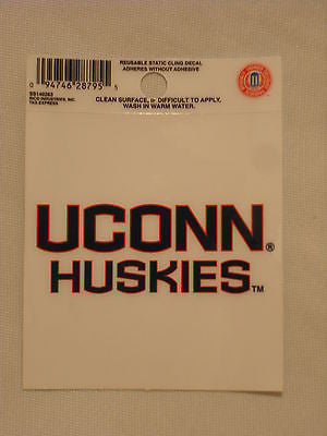 UCONN Connecticut Huskies Static Cling Sticker NEW!! Window or Car! NCAA