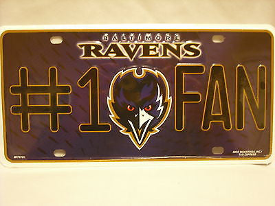 Baltimore Ravens #1 Fan Aluminum License Plate NEW!!