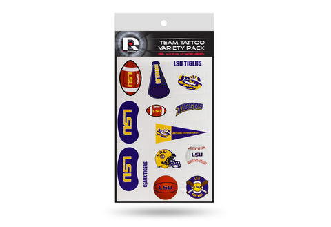 LSU Tigers Temporary Tattoos Team Variety Pack 14 pieces Free Shipping