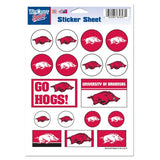 Arkansas Razorbacks Vinyl Sticker Sheet 17 Decals 5x7 Inches
