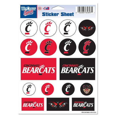 Cincinnati Bearcats Vinyl Sticker Sheet 17 Decals 5x7 Inches