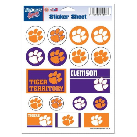 Clemson Tigers Vinyl Sticker Sheet 17 Decals 5x7 Inches