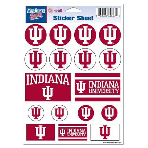 Indiana Hoosiers Vinyl Sticker Sheet 17 Decals 5x7 Inches