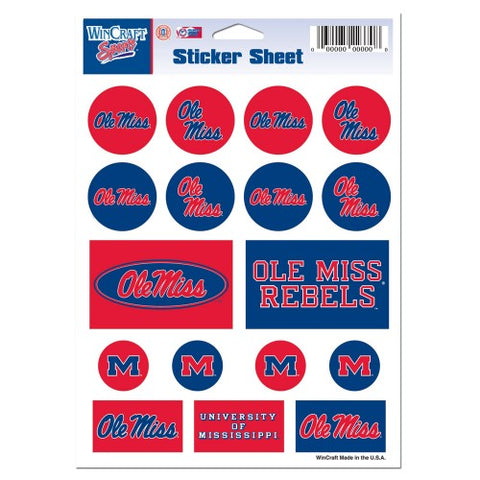 Ole Miss Rebels Vinyl Sticker Sheet 17 Decals 5x7 Inches
