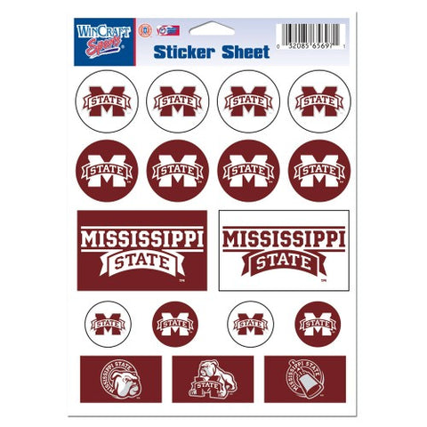 Mississippi State Bulldogs Vinyl Sticker Sheet 17 Decals 5x7 Inches
