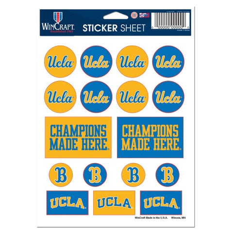 UCLA Bruins Vinyl Sticker Sheet 17 Decals 5x7 Inches