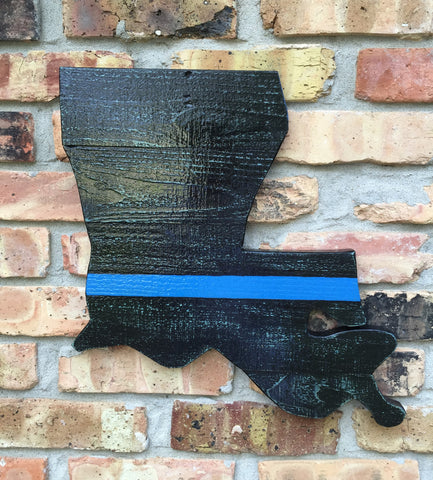 "Louisiana Outline Sign with The Thin Blue Line Sticker 15""X17"""